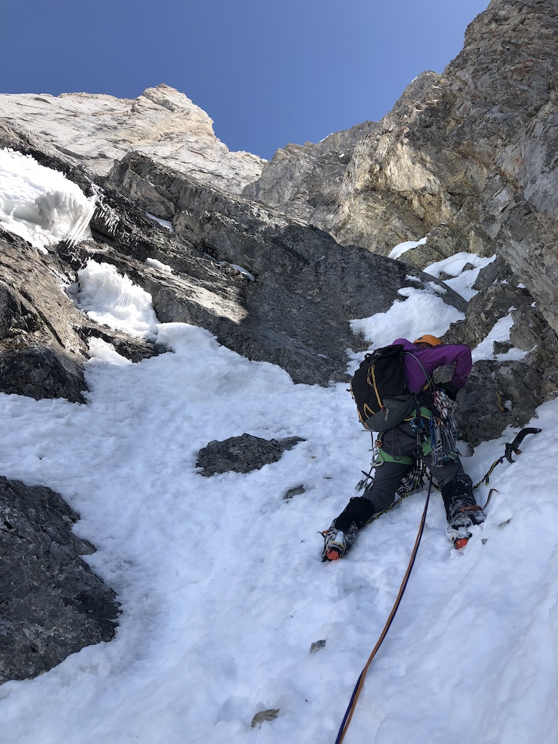 Rose Pearson leading a mixed step on the west face of Mt. Blane.