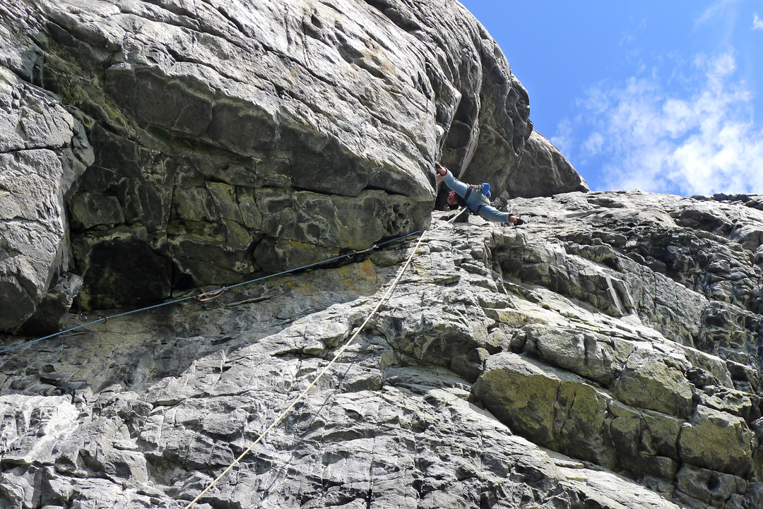 Mike Rolf on the steep and strenuous pitch two (Norwegian 7) of Ramberger, Ramberg Nubbin.