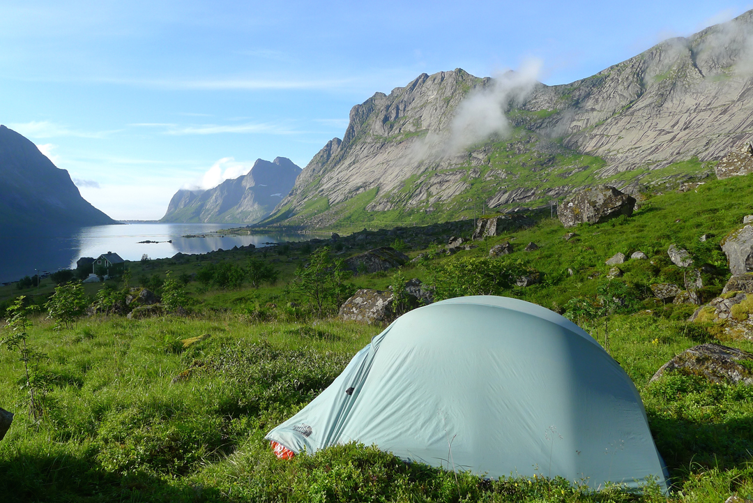 Camp at the head of the Kjerkfjord, looking south toward Reine.