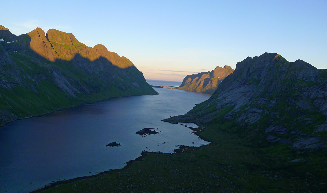 The Kjerkfjord from Merraflestinden with Reine just visible at the far end.