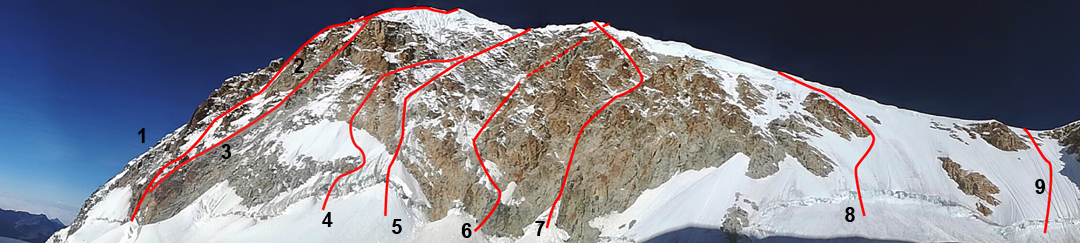 A foreshortened view of the west face of Illampu. (1) Northwest Buttress (1970). (2) Spanish Route (1978). (3) Nada Mañana (1991). (4) Koroska Smer (1986). (5) Central Couloir Direct (1990). (6) Alpos Secret (1991). (7) Paris-Texas (1991). (8) Rotar-Zupanc (1984). (9) Start to the normal route, which continues up the right skyline ridge (1928).