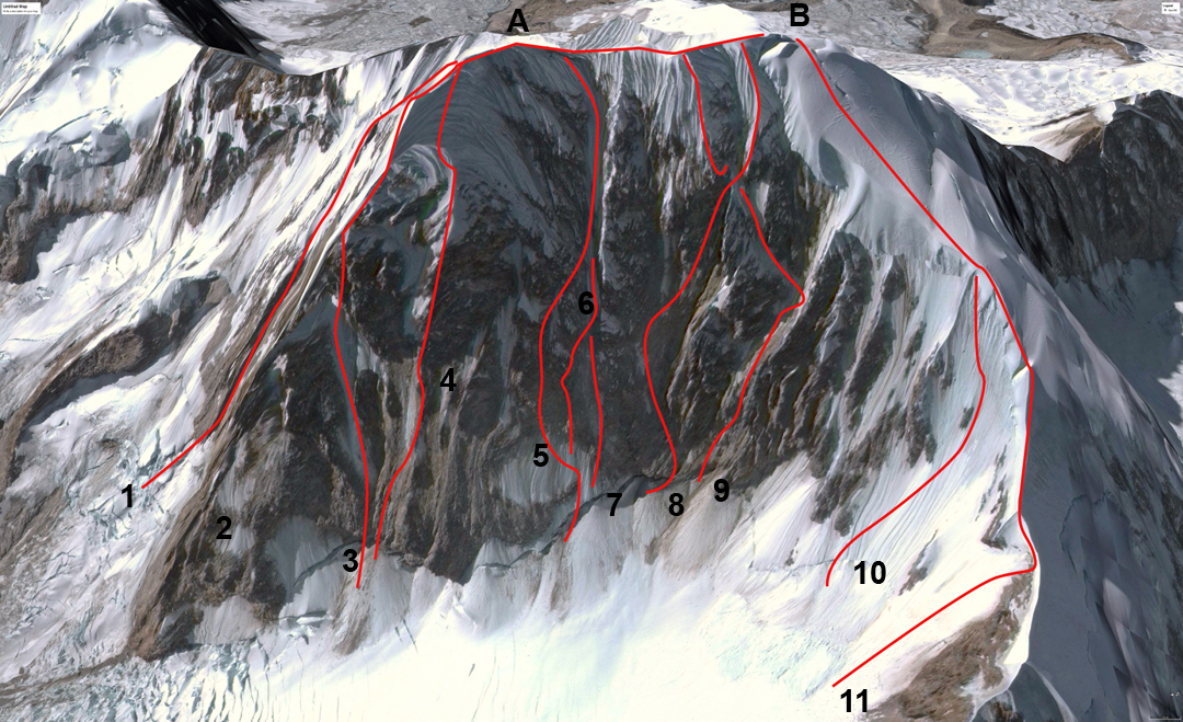 The west face of Illampu with (A) north summit (6,310m) and (B) south summit (6,368m). (1) Conjuration des Imbeciles (2002). (2) Northwest Buttress (1970). (3) Spanish Route (1978). (4) Nada Mañana (1991). (5) Koroska Smer (1986). (6) Chinnery-Schweizer (1997). (7) Central Couloir Direct (1990). (8) Alpos Secret (1991). (9) Paris-Texas (1991). (10) Rotar-Zupanc (1984). (11) Southwest ridge (normal route) (1928).