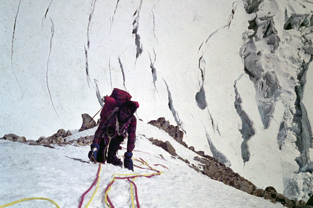 Oscar Cadiach during the 1978 first ascent of the west face of Illampu.