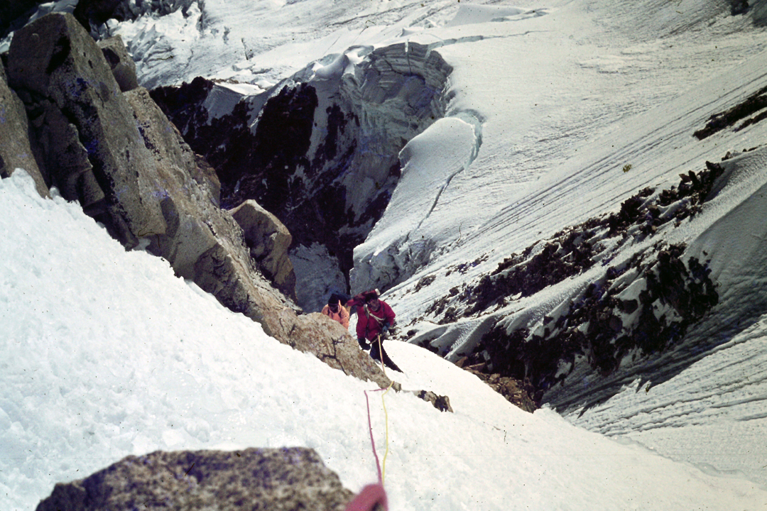 Low on the 1978 Spanish route during the first ascent of the west face of Illampu.