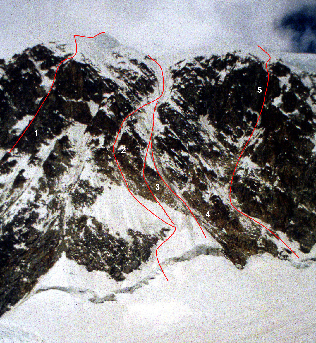 The central section of Illampu's west face, seen in 1997. (1) Nada Mañana (1991). (2) Koroska Smer (1986). (3) Chinnery-Schweizer (1997). (4) Central Couloir Direct Start (1990). (5) Alpos Secret (1991).