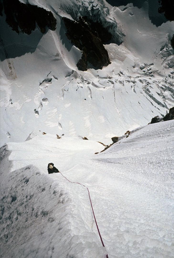 On the final snow rib of Nada Mañana, west face of Illampu.