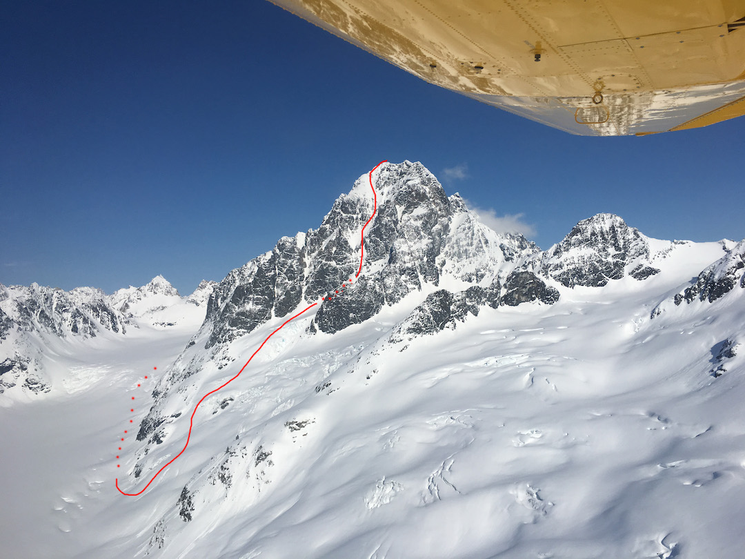 Peak 8,505' in Alaska's Neacola Mountains, showing the line of ascent taken by Tess Ferguson and Barry Smith on the mountain's first ascent. Though much climbing potential exists on this prong of the Pitchfork Glacier, the first ascensionists reported poor rock quality in comparison to the middle and northern prongs. Barry Smith