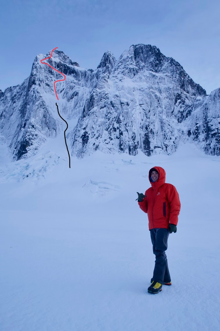 Ryan Johnson below the north side of the Mendenhall Towers in October 2015. The black line marks his attempt with Clint Helander on the north face of the Main Tower. Red line shows the speculative line up the complete north face; the exact line followed by Johnson and Marc-André Leclerc in 2018 is unknown. The Fourth Gully descent route is off-picture to the left. At right is the north face of West Mendenhall Tower. Johnson and Sam Magro made the first ascent of this face via the Great White Conqueror (2,500', V AI4 M5 A1) in March 2008.