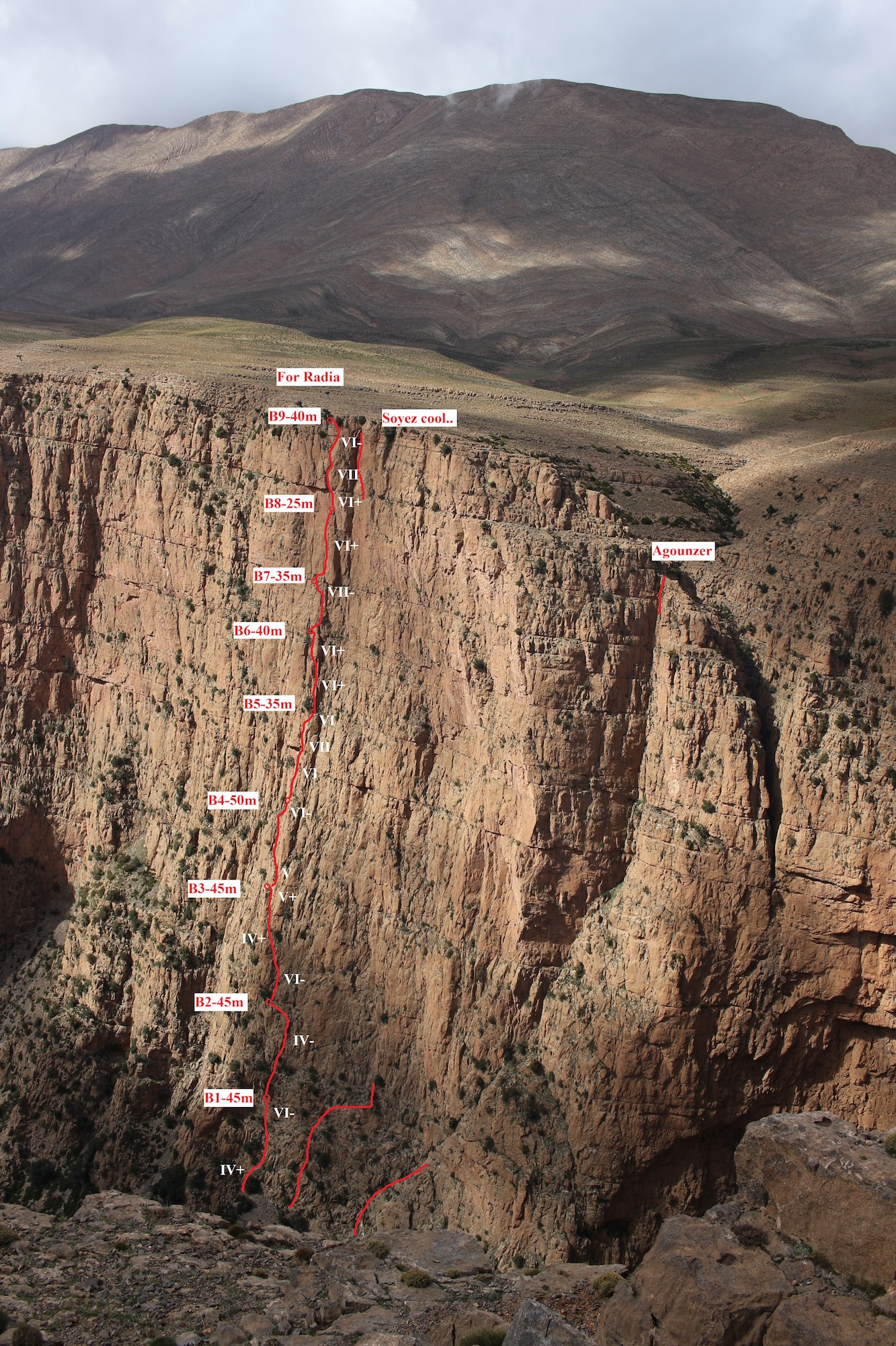 Photo-topo of the new route For Radia.