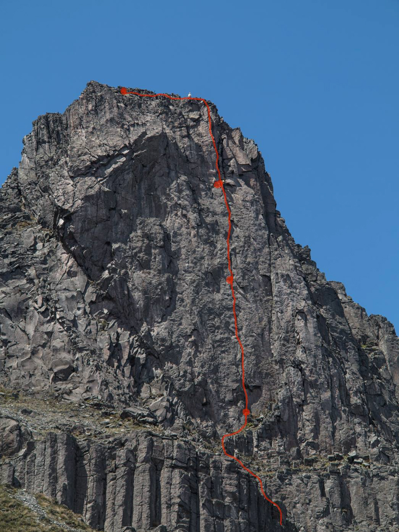 """Warmi Torre, showing Strange and Eternal (3 pitches, 5.10). Felipe Proaño writes, """"It is likely the most continuous crack system in our country."""""""
