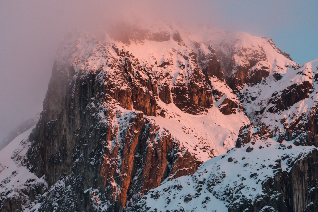 The east and south faces of Sirihuani covered in fresh snow. The team attempted a route on the far left side of the south face.