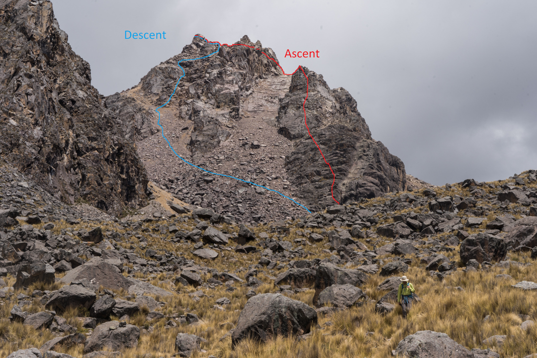 The ascent and descent routes for Parcocaya's north ridge.