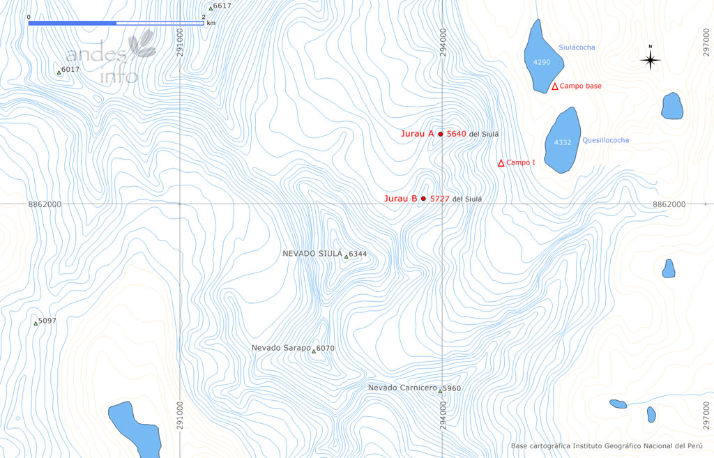 Map showing Jurau A and Jurau B (as they are currently known), northeast of Siulá Grande, with the 2018 Spanish team's base camp and high camp shown.