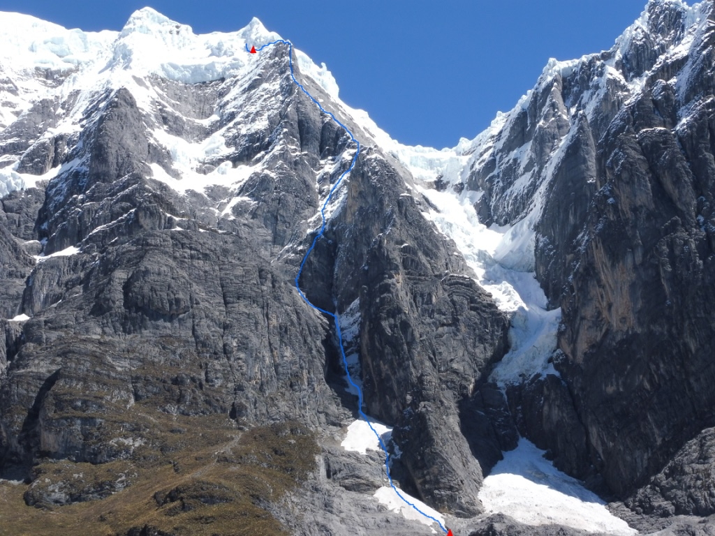 The 2018 Pérez-Valle route line on Jurau B (5,727m). The route did not reach the true summit.