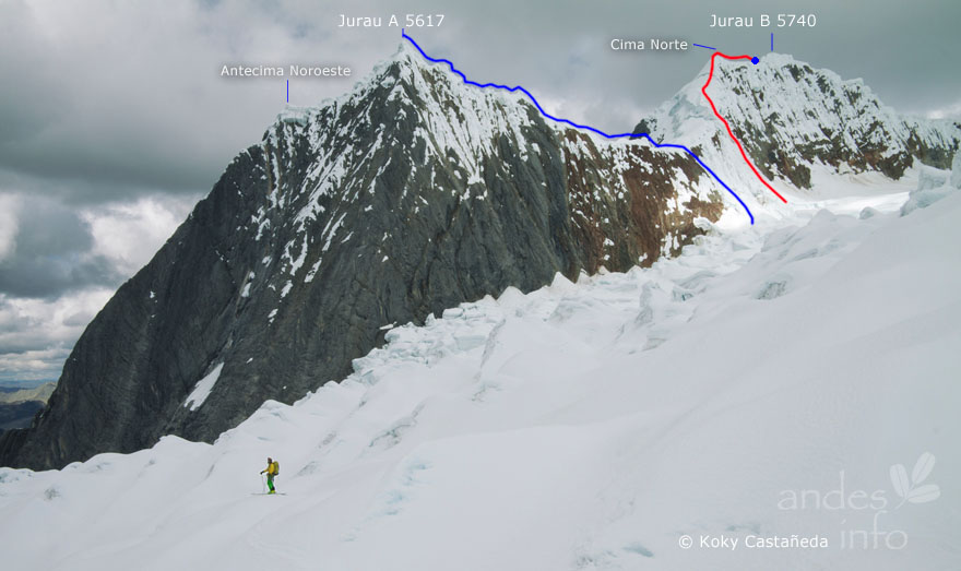 Jurau A and Jurau B seen from the glacier to the northwest. The likely route of the 1964 route up Jurau A is shown in blue, along with the northeast point dubbed Siula Antecima by a 2007 Italian expedition. The 2014 route over Jurau B's northern top by Pinto, et al, is shown in red, along with the true summit.