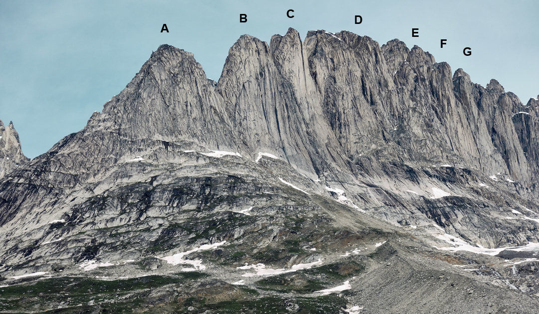 The Fox Jaw spires from the southwest. (A) Milk Tooth. (B) Molar. (C) Incisor. (D) Cavity Ridge. (E) Fang. (F) Left Rabbit Ear. (G) Right Rabbit Ear.