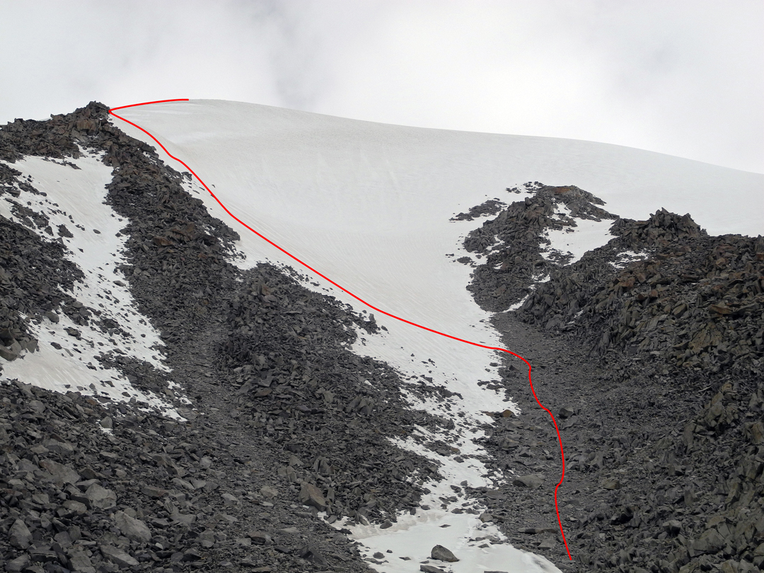 Looking up the south face of Phokto Scheyok and the ascent route, with much shattered granite visible.