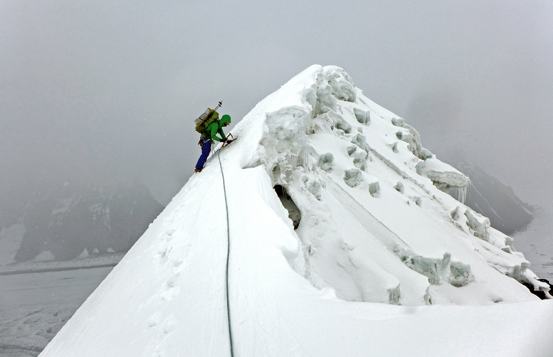 Simon Taffner at 5,250m on the knife-edge summit ridge of Majlina (5,285m) during the Ak-tau traverse.