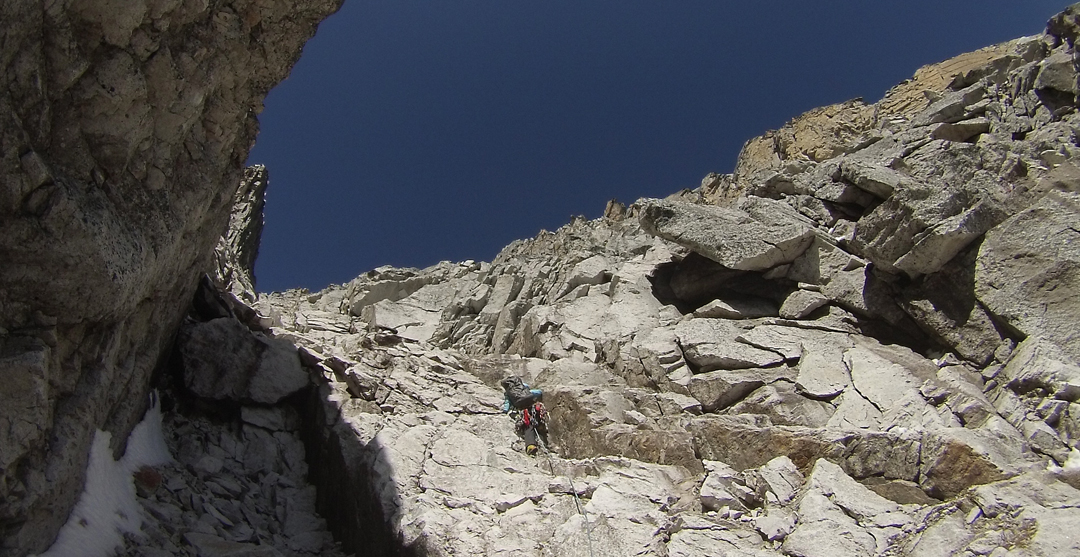 In the south-southeast couloir leading toward Peak 5,467m above the Mugu Valley.