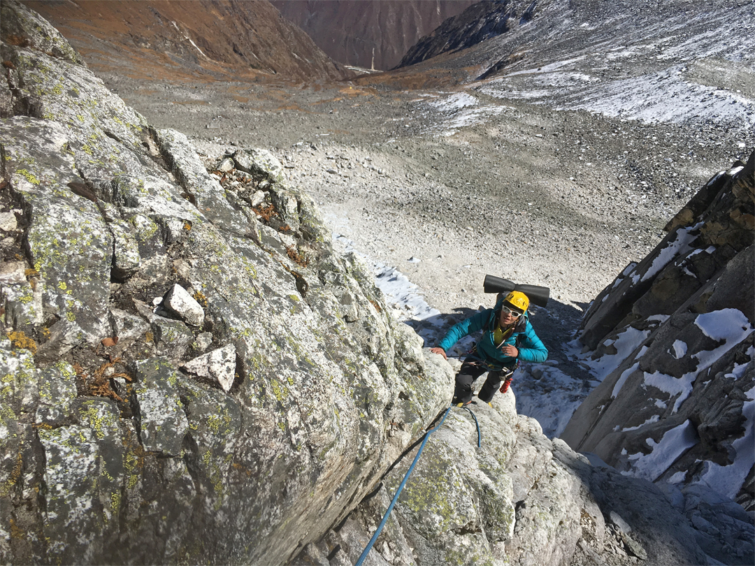Anna Torretta on the right flank of the south-southeast couloir during an attempt on Peak 5,467m in the Khela Danda, Mugu Valley.
