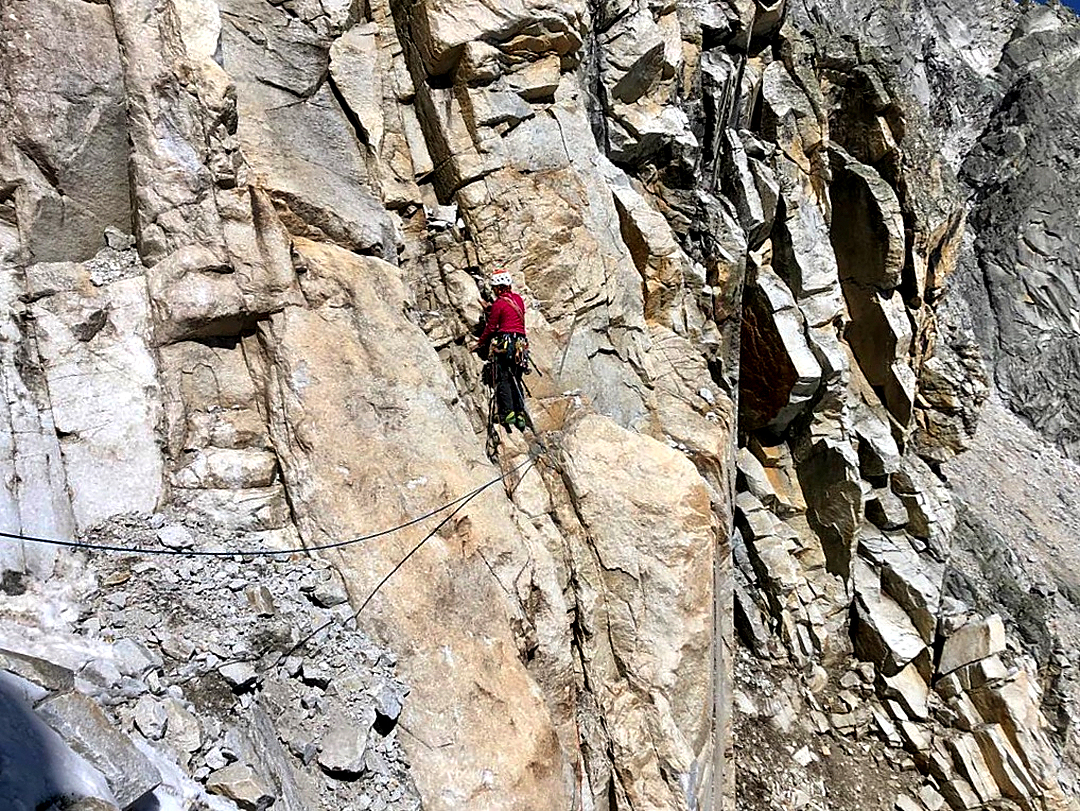 Cecilia Buil starting a pitch of less than perfect rock on the right side of the south-southeast couloir of Peak 5,467m, Khela Danda, Mugu Valley.