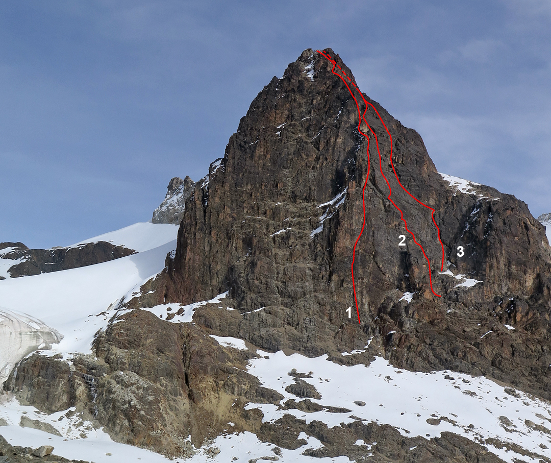 Routes on the east face of Charquini, leading to the eastern summit (ca 5,300m). (1) Juntos al Puma (2017). Jaguar Holocaust (2018) is too close to draw separately in this image. (2) Coni's Dream (2018). (3) Felix el Titi (2018). The unclimbed face to the left is exposed to rockfall and, due to the relatively low altitude and limited freeze, it would almost never be in condition for mixed climbing.