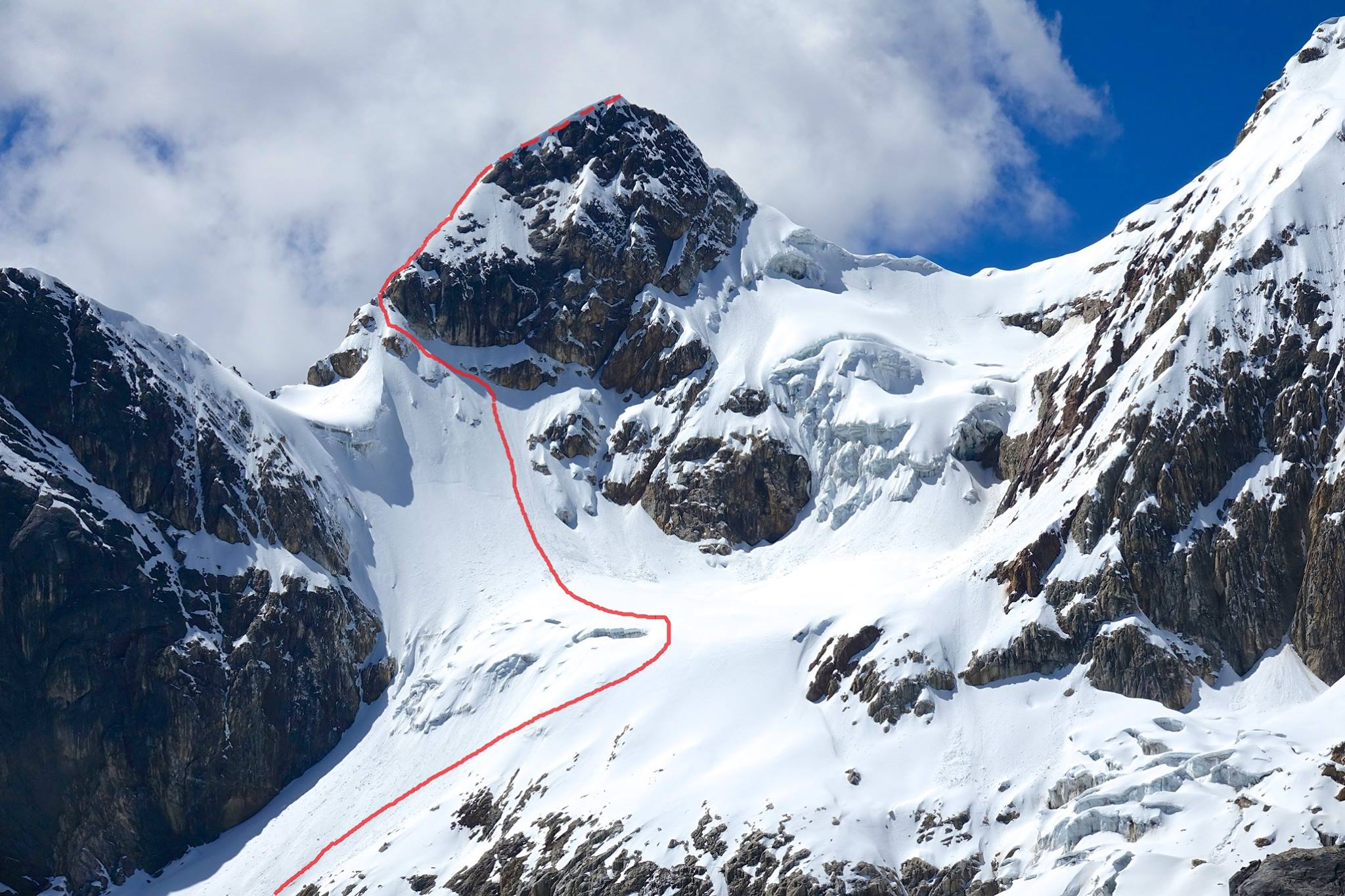 The Peru-Belgium Arête (2018). The route began on the western snow slopes of the ca 5,400m peak and then climbed its north ridge.