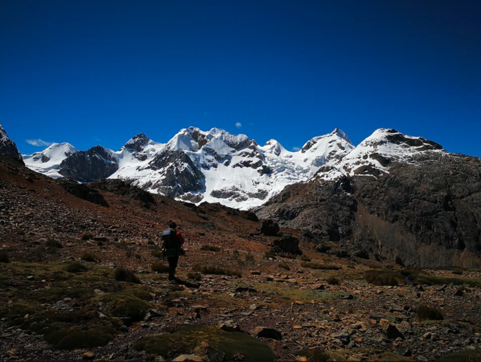 The Suiricocha Massif from on the approach from the east. The peak climbed in 2018 (ca 5,400m) is just to the left of a ca 5,500m peak (possibly called Manon Dos), the high peak in center.