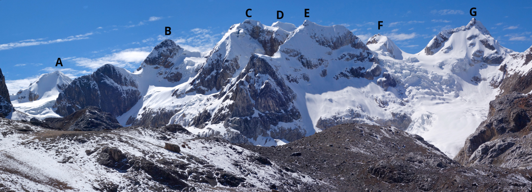 An overview of the Suiricocha Massif from the west, showing: (A) Nevado Norma. (B) The ca 5,400m peak climbed by Guy Fonck and Beto Pinto in 2018. (C) The ca 5,500m peak climbed by Sophie Denis and Beto Pinto in 2010, which may be called Manon Dos. (D) The ca 5,600m central summit of Suiricocha. (E) The ca 5,450m central-western summit of Suiricocha. (F) The ca 5,425m south-central summit of Suiricocha. (G) The ca 5,450m southern summit of Suiricocha climbed by Sophie Denis and Beto Pinto in 2010. Nevado Vicuñita is out of the frame to the left.