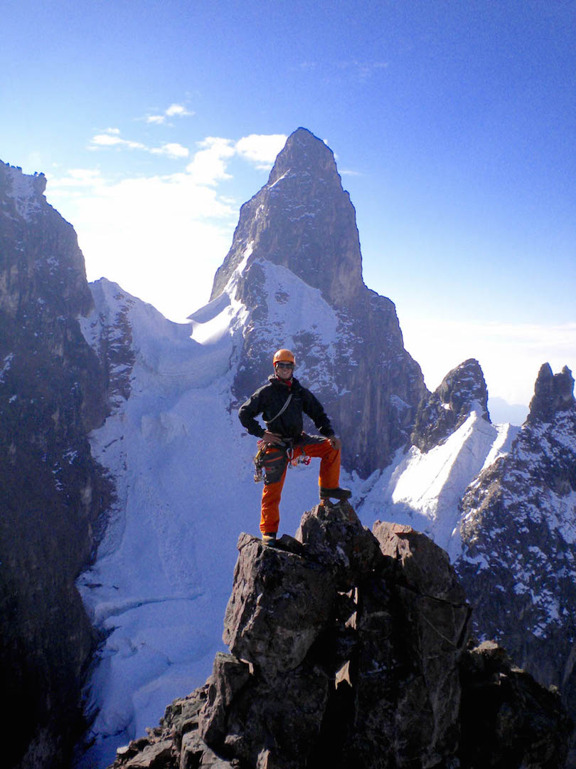 From a report by Derek Field in AAJ 2017. Derek stands on the summit of Mamaccapac, with a view to the impressive tower of Screwdriver behind. The shoulder of Chiliparati is visible on the left. The 1968 first ascent of Chiliparati climbed from the Chiliparati-Screwdriver col shown here.