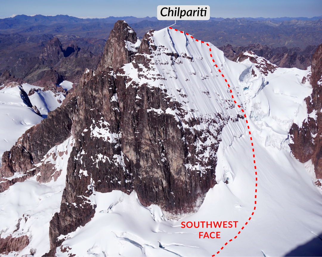 The 2018 route up the southwest face (250m above the glacier, D 80°) of Chilpariti (ca 5,500m). The rock spire to the left (northeast) is Screwdriver (5,543m). The 1968 first ascent climbed Chiliparati from the opposite northeast side via the col between the two peaks.