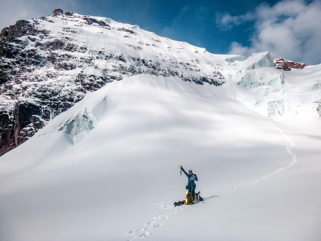 Giselle Field below the southwest face of Chilpariti after the successful ascent and during a break in the storm.