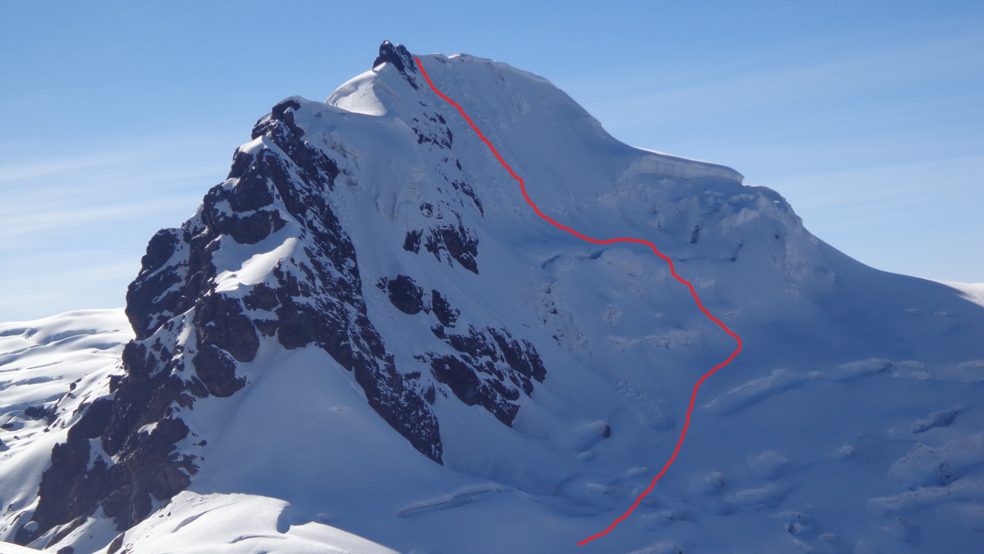 A foreshortened view of the south face of Nevado Huayllaco (5,460m), showing the attempt in July 2018.