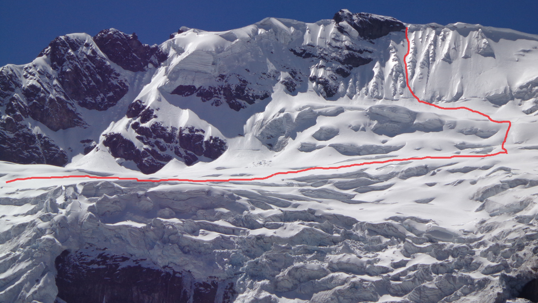 The 2018 attempt on the south face of Nevado Huayllaco.