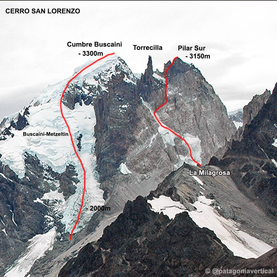 From Pataclimb.com: Pilar Sur from the south, showing the majority of the 2018 line La Milagrosa (1,200m, 6a M7 A3) on the south face; the final three pitches to the summit climbed the opposite north side.