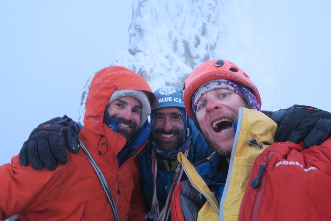 From left to right: Francois Poncet, Martin Elias and Jerome Sullivan. Unclimbed Torrecilla is in the background.