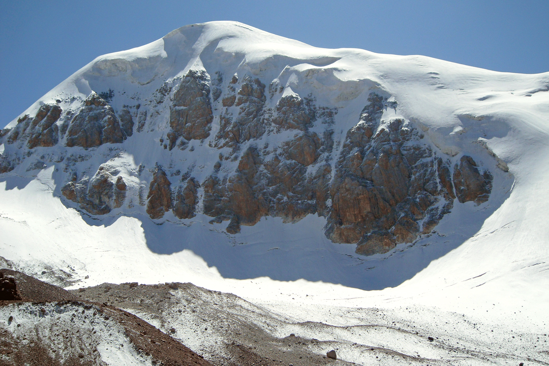 The north face of unclimbed Pik 4,775m, west of Pik Ushak.