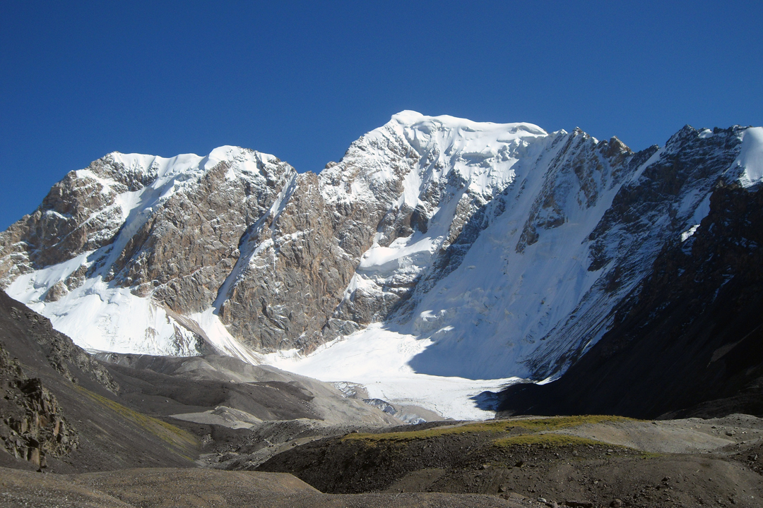 The north side of unclimbed Pik 5,140m, southwest of Pik Ushak.