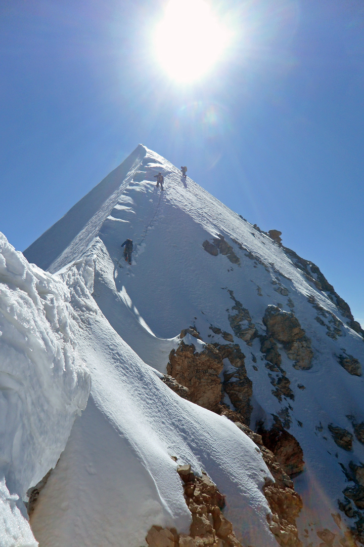 On the summit ridge of Pik Ushak after ascending the north face.