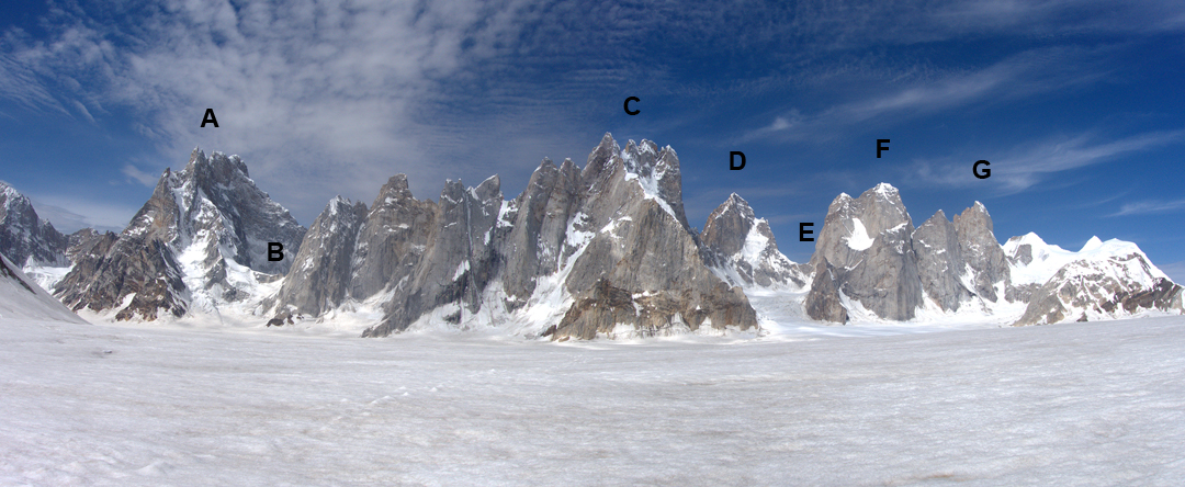Seen from the Sim Gang Glacier to the northeast: (A) Sosbun Brakk (6,413m), (B) Sokha La (5,180m), (C) Broad Tower (6,065m), (D) Solu Peak (5,901m), (E) Solu La (5,330m), (F) Solu Tower (5,979m), and (G) Solu Hidden Tower (5,850m). The Hispar La, leading to the upper Hispar Glacier, is to the right.
