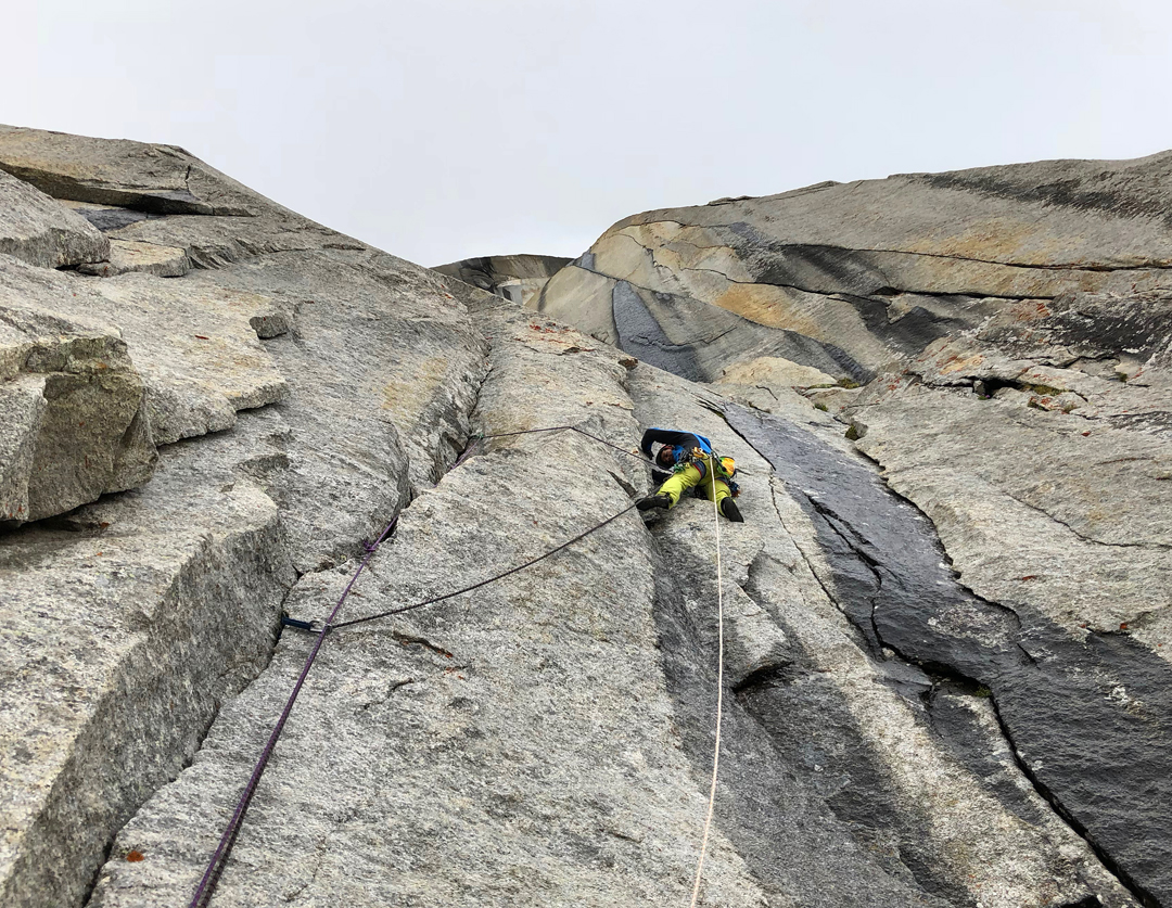 Massimo Faletti on the lower wall of WaterWorld on the northeast face of Kiris Peak.