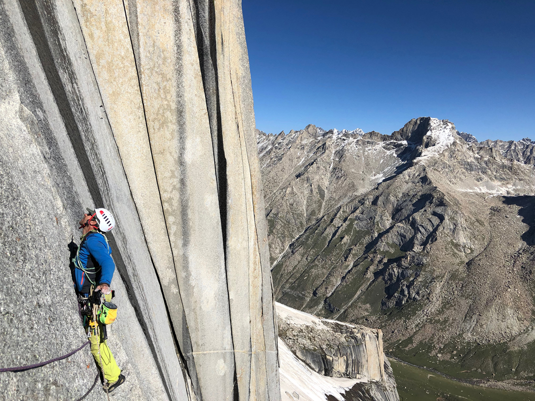 Massimo Faletti climbing on the second day during the ascent of WaterWorld on the northeast face of Kiris Peak.