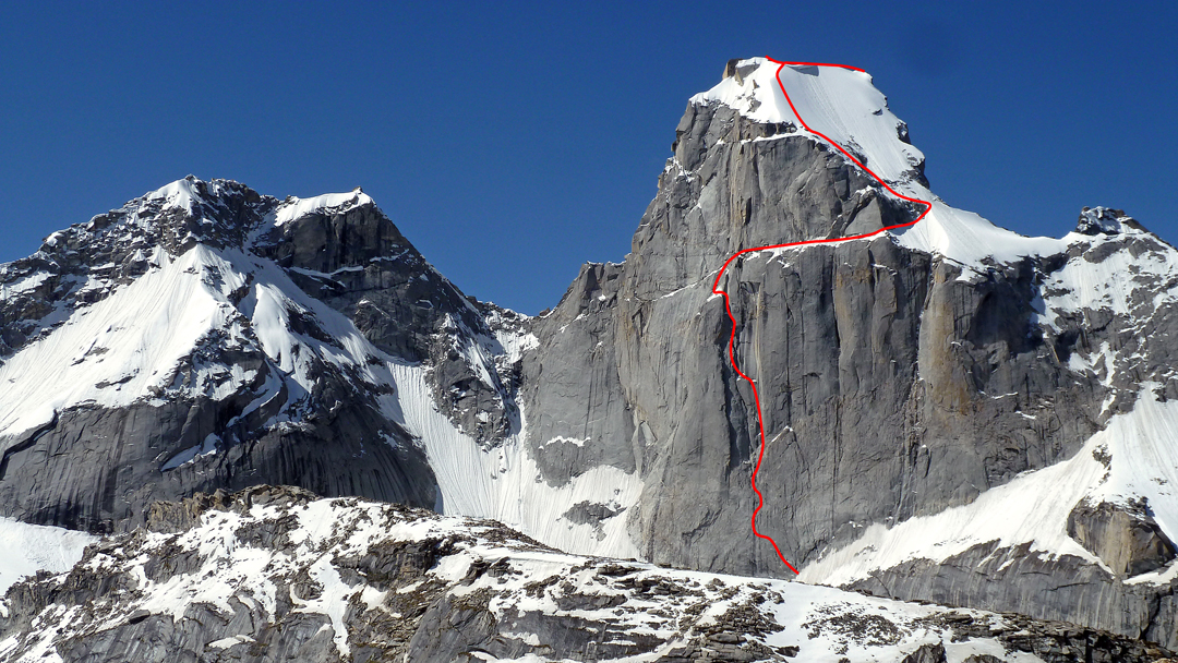 The northeast face of Kiris Peak and the line of WaterWorld (at least 600m, with ca 1,250m of climbing distance).