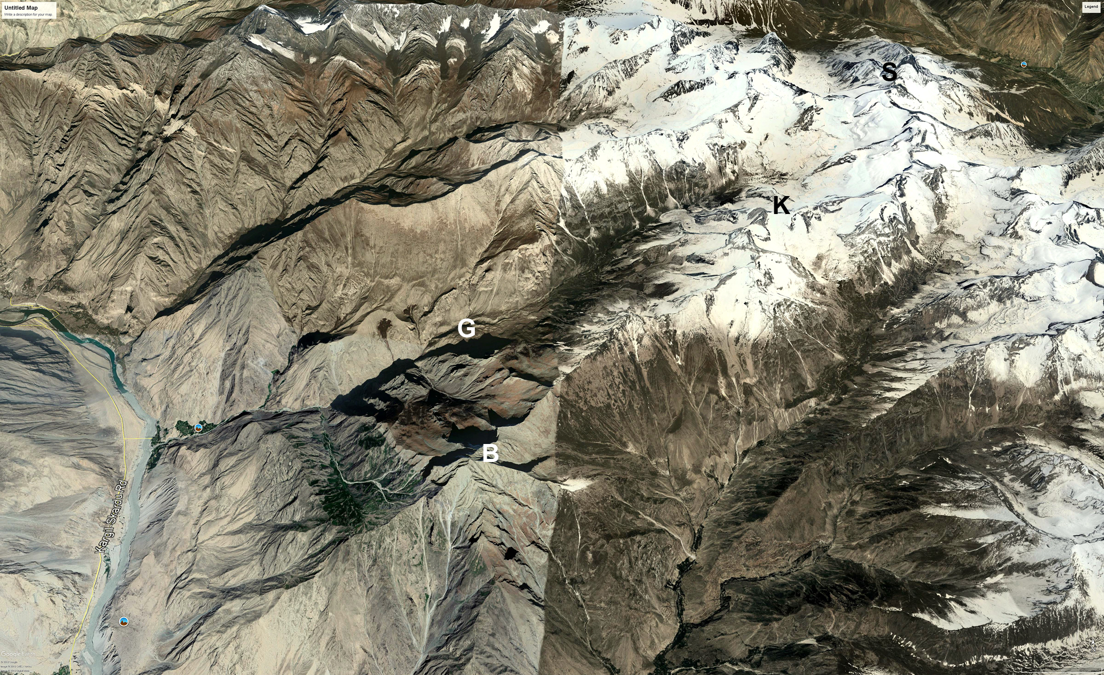 Part of the Shimshak Mountains. The Ghoro Valley (G), east of Skardu, descends to the Indus River on the left. Top right is the Thalle Valley. (B) is a peak referred to on the Japanese Miyamori map as Brinzongar (around 5,200m). (K) Kiris Peak. (S) Snow Peak.