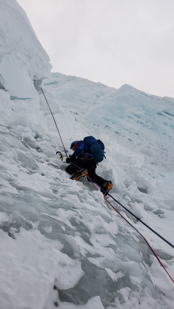 Nathan Heald climbing the icy west wall of Nevado Huantsán to the high camp.