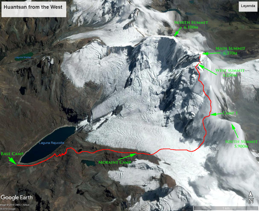 An overview of Nevado Huantsán, showing the 2018 route Apus Circus (1,200m, ED WI4 M5), which was the first known linkup of the west summit (6,270m) and main summit (6,395m).