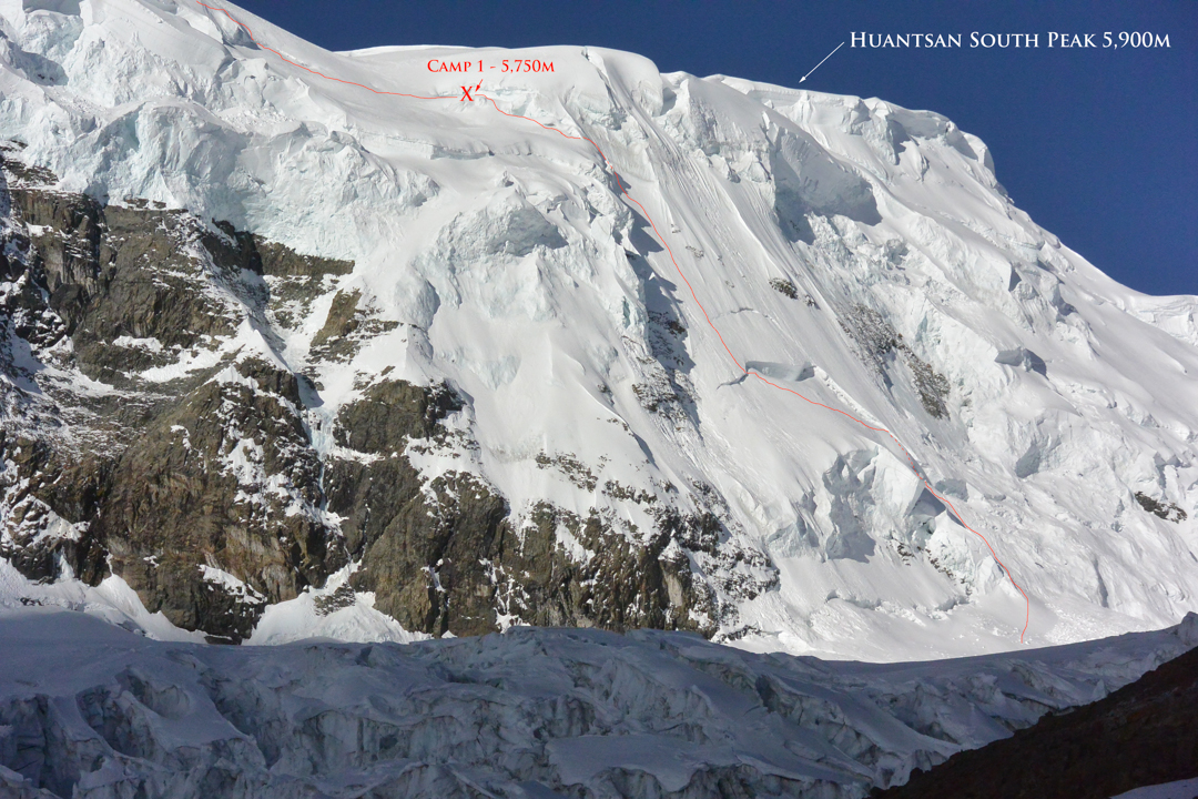 The route on the west wall of Nevado Huantsán to the 2018 team's high camp between the south summit (5,900m) and west summit (6,270m).