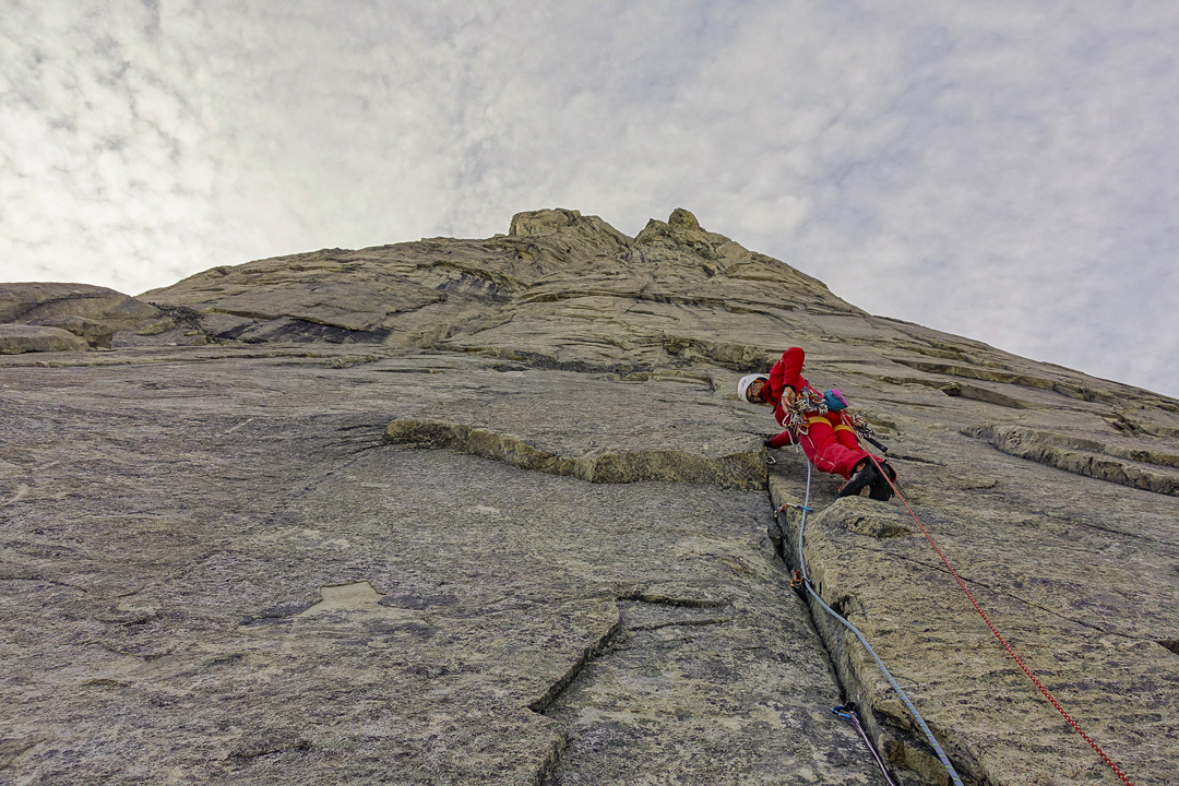 Lionel Daudet climbing on the northeast face of Ataatap Tower.