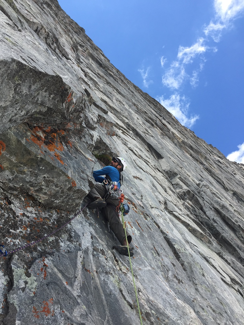 Jeff Lodas climbing the last pitch of what would become In Honor of Crazy Horse (1,200', IV 5.12a) in 2017. This was the third year of attempts on the route.