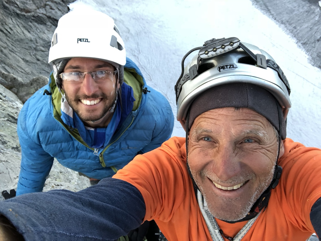 Taimur Ahmad and Arno Ilgner at the summit after completing the first ascent of In Honor of Crazy Horse (1,200', IV 5.12a) on Cloud Peak in the Bighorn Mountains of Wyoming. Ilgner spent four trips putting up this new line, his second on the wall after A Shimmering Abstraction (Ilgner-Petro, 1986).